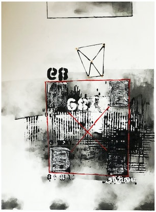 (CreativeWork) COMPOSITION NO. 249 [ FOUR CORNERS ] -2020 by G Kustom Kuhl. Mixed Media. Shop online at Bluethumb.