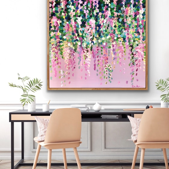 (CreativeWork) Petite pink wisteria 102x102 framed large textured abstract flowers  by Sophie Lawrence. Acrylic Paint. Shop online at Bluethumb.