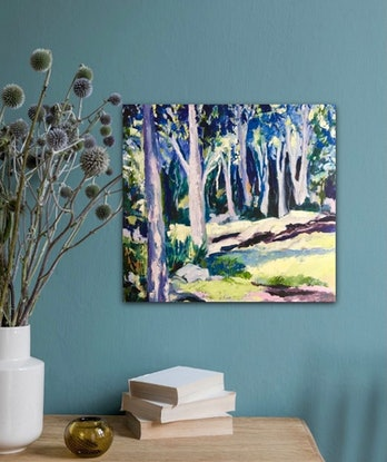 (CreativeWork) Paperbark Trail by Sue Woolnough. Oil Paint. Shop online at Bluethumb.