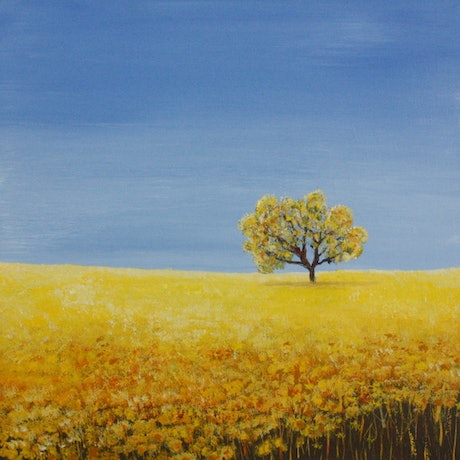 (CreativeWork) Small Canola Tree  by Corinne Young. Acrylic Paint. Shop online at Bluethumb.