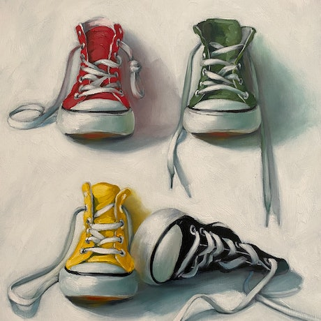 (CreativeWork) CONVERSE FOURPLAY by Rosa Fedele. Oil Paint. Shop online at Bluethumb.