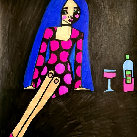 (CreativeWork) Ready for her date  by jane ruggiero. Drawings. Shop online at Bluethumb.