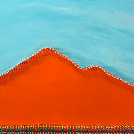 (CreativeWork) Snowy peaks by Will Dickerson. Mixed Media. Shop online at Bluethumb.