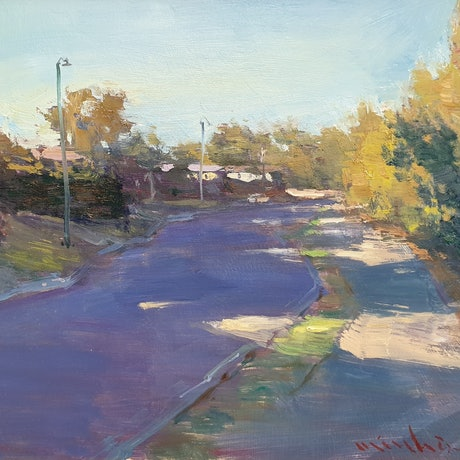 (CreativeWork) Morning  light on Challenor street by Minhan Cho. Oil Paint. Shop online at Bluethumb.