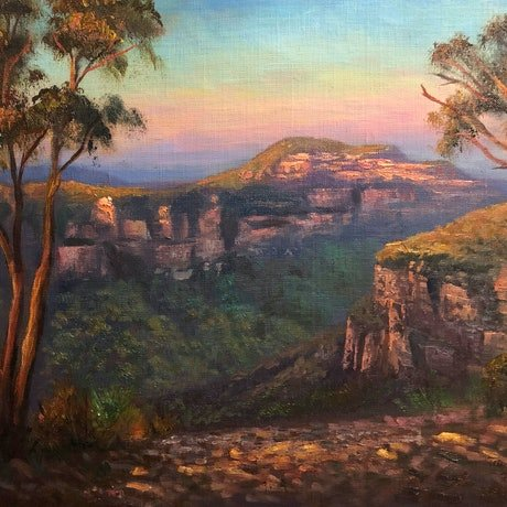 (CreativeWork) Last light on Mt Banks, Blue Mountains  - Oil on archival canvas board  by Christopher Vidal. Oil Paint. Shop online at Bluethumb.