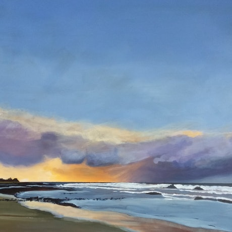 (CreativeWork) Golden hour by Sandra Jenkins. Acrylic Paint. Shop online at Bluethumb.
