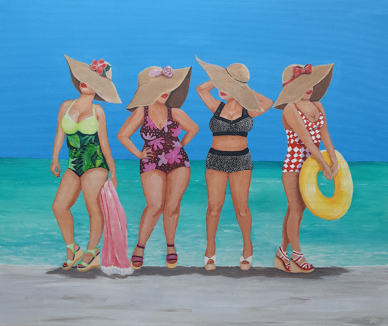 (CreativeWork) Beach ready, roll on summer! by Andrea Berry. Acrylic Paint. Shop online at Bluethumb.