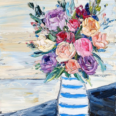 (CreativeWork) Farm House Blooms 3 by Angela Hawkey. Oil Paint. Shop online at Bluethumb.