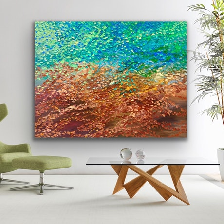 (CreativeWork) Autumn Glory. Needs stretching  by Theo Papathomas. Oil Paint. Shop online at Bluethumb.