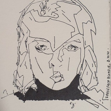 (CreativeWork) Fresh Face Blondie by Rebecca lam. Drawings. Shop online at Bluethumb.