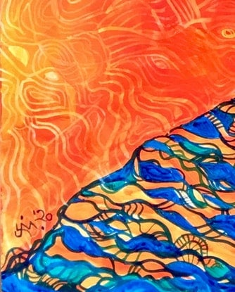 (CreativeWork) On the Edge by Jenny Mounfield. Acrylic Paint. Shop online at Bluethumb.