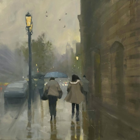 (CreativeWork) Rain Haze - rainy day cityscape by Mike Barr. Oil Paint. Shop online at Bluethumb.