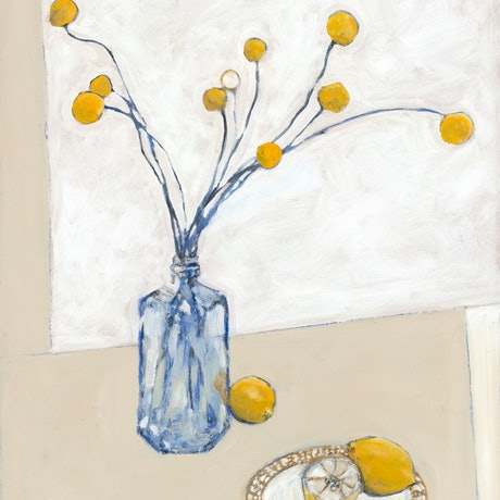(CreativeWork) Billy Buttons by Bronwen Hunt. Oil Paint. Shop online at Bluethumb.