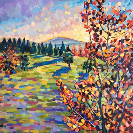 (CreativeWork) Autumn Morning at the National Arboretum Canberra by Valentyna Crane. Acrylic Paint. Shop online at Bluethumb.