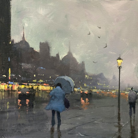 (CreativeWork)  Winter City - rainy-day cityscape by Mike Barr. Acrylic Paint. Shop online at Bluethumb.
