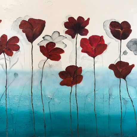 (CreativeWork) Poppies in the Wind by Dianne Fix. Oil Paint. Shop online at Bluethumb.