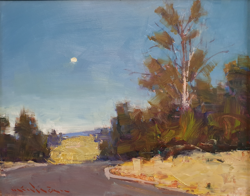 (CreativeWork) Landscape with day moon by Minhan Cho. Oil Paint. Shop online at Bluethumb.