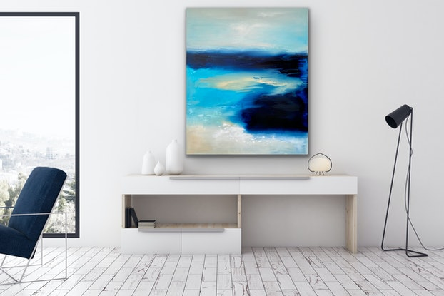 (CreativeWork) Australian Blue by Kathleen Rhee. Acrylic Paint. Shop online at Bluethumb.