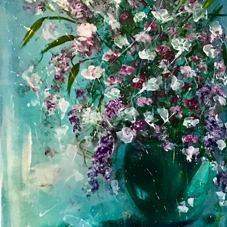 (CreativeWork) Teal by Louise Croese. Acrylic Paint. Shop online at Bluethumb.