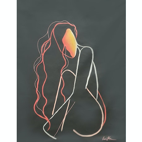 (CreativeWork) Seated Nude (Original Line Art Painting on Canvas) by Leni Kae. Acrylic Paint. Shop online at Bluethumb.