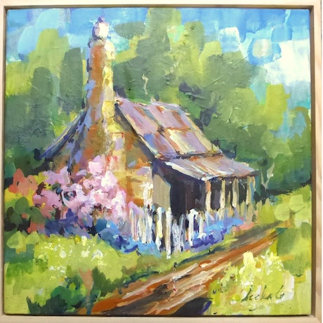 (CreativeWork) Country Cottage by Leeka Gruzdeff. Acrylic Paint. Shop online at Bluethumb.