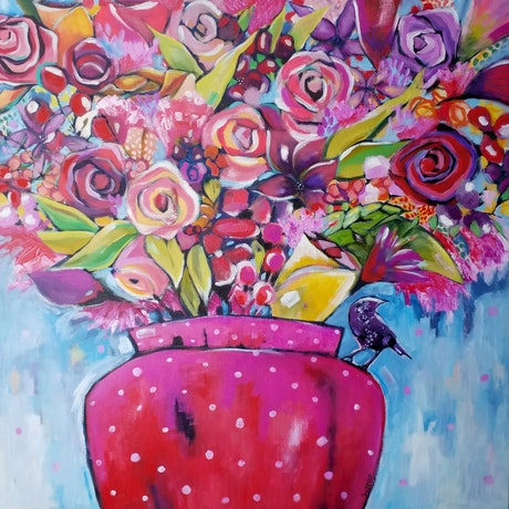 (CreativeWork) Put Em In The Big Pink Pot  by Debra Sutton. Acrylic Paint. Shop online at Bluethumb.
