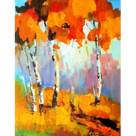 (CreativeWork) Autumn Red by Leeka Gruzdeff. Acrylic Paint. Shop online at Bluethumb.