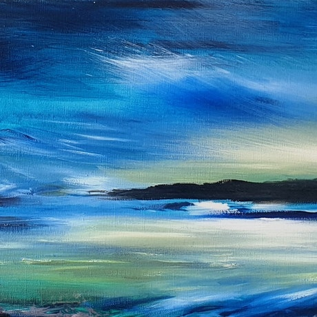 (CreativeWork) Swell Bay by Alice Howell. Oil Paint. Shop online at Bluethumb.
