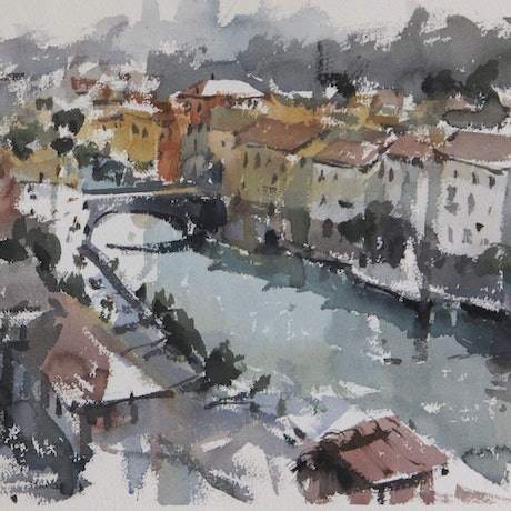 (CreativeWork) Bagni di Lucca by T. B. Watercolours. Watercolour Paint. Shop online at Bluethumb.