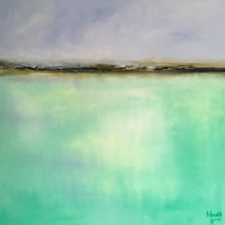 (CreativeWork) Sublime Lake - Abstract by Meredith Howse. Oil Paint. Shop online at Bluethumb.