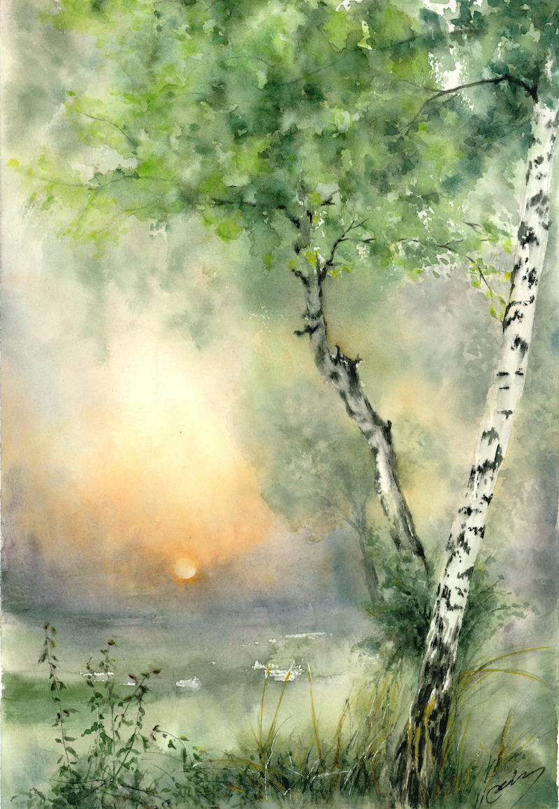 (CreativeWork) Sunrise by Cecilia Xiao. Watercolour Paint. Shop online at Bluethumb.