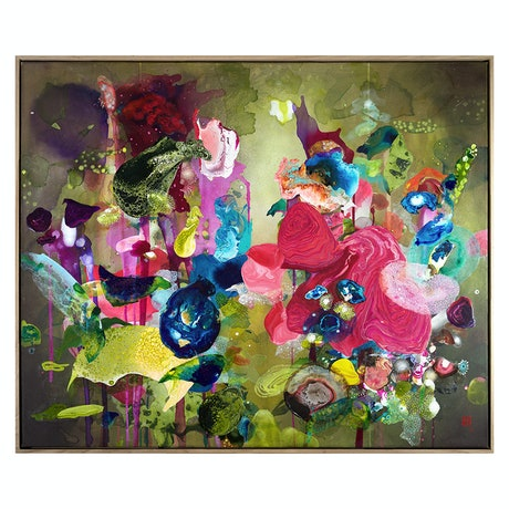 (CreativeWork) Flora Poura by Amanda Krantz. Acrylic Paint. Shop online at Bluethumb.