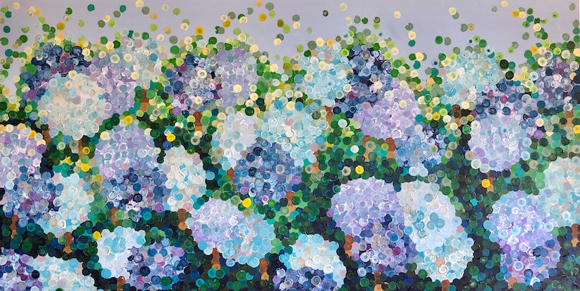 (CreativeWork) Hydrangea heaven 200x102 framed large textured abstract flowers  by Sophie Lawrence. Acrylic Paint. Shop online at Bluethumb.