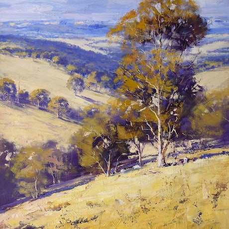 (CreativeWork) Summer landscape Australia by Graham Gercken. Oil Paint. Shop online at Bluethumb.