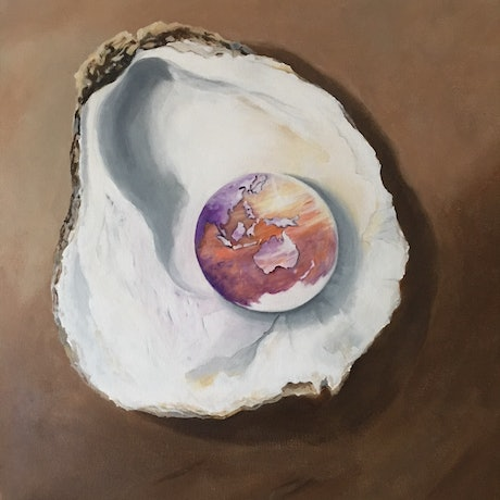 (CreativeWork) The World's Your Oyster by Kathryn Johnston. Acrylic Paint. Shop online at Bluethumb.