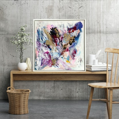 (CreativeWork) Where's the Party by Michelle Drougas. Acrylic Paint. Shop online at Bluethumb.
