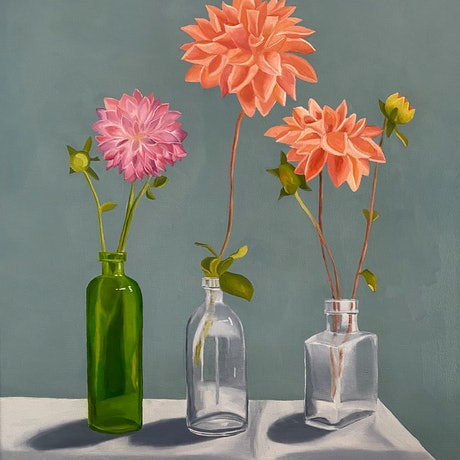 (CreativeWork) All the Pretties in a Row by Amanda Ogilby. Oil Paint. Shop online at Bluethumb.