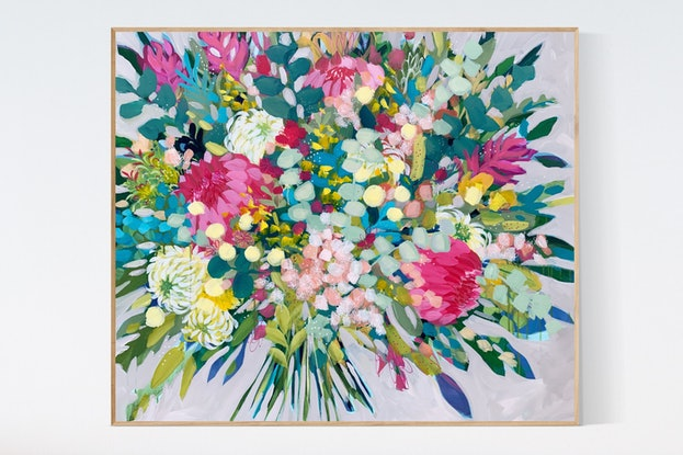 (CreativeWork) Confetti Flowers, modern floral artwork by Clair Bremner by Clair Bremner. Acrylic Paint. Shop online at Bluethumb.