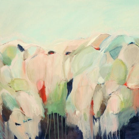 (CreativeWork) Abstract Landscape - Longing for The Hills by Brenda Meynell. Acrylic Paint. Shop online at Bluethumb.