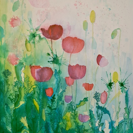 (CreativeWork) Tantalising Tulips by Lucinda Leveille. Watercolour Paint. Shop online at Bluethumb.