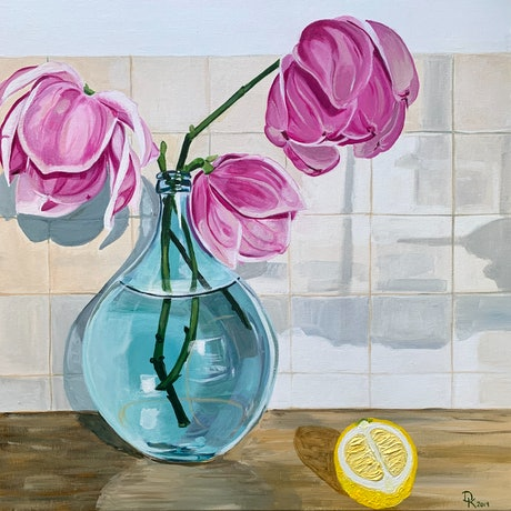(CreativeWork) Magnolia, Demi John & Lemon by Dominika Keller. Acrylic Paint. Shop online at Bluethumb.
