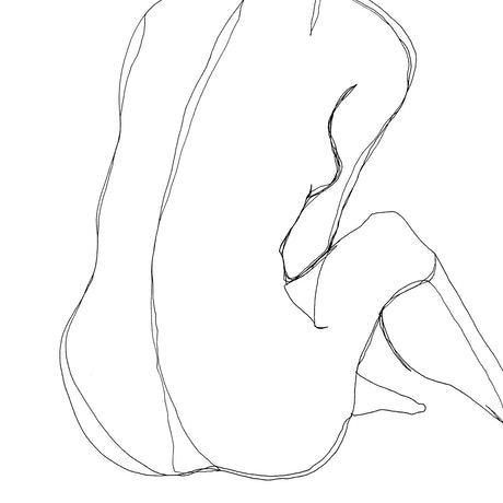 (CreativeWork) Female Nude sitting ,minimal line study  by Phil Herbison. Drawings. Shop online at Bluethumb.