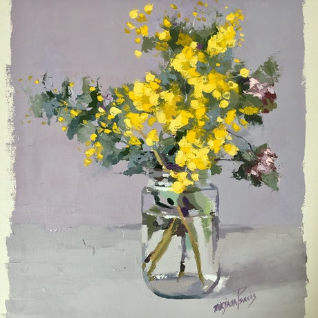(CreativeWork) Flowering Yellow Wattle by Mirjana Psakis. Oil Paint. Shop online at Bluethumb.