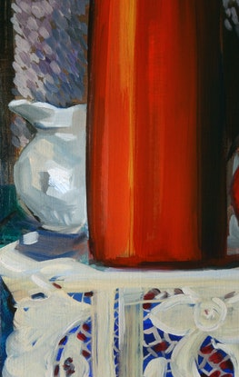 (CreativeWork) June still life with vases and lace by Liza Merkalova. Oil Paint. Shop online at Bluethumb.