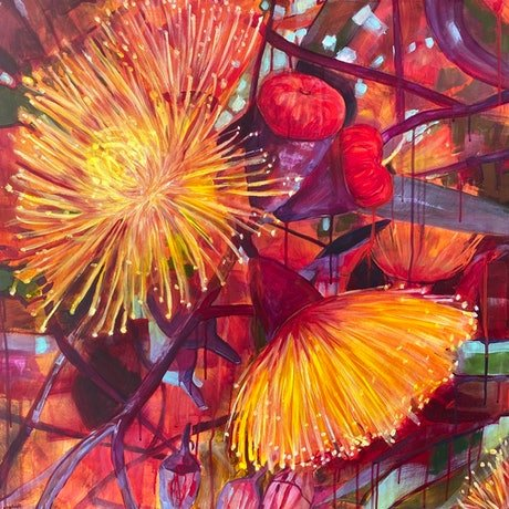 (CreativeWork) Ficifolia by Kate Gradwell. Acrylic Paint. Shop online at Bluethumb.