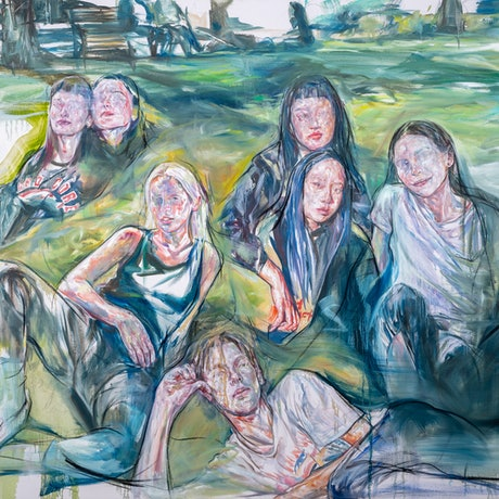 (CreativeWork) Uncanny candidness (Edinburgh gardens) by Hyunji Kim. Oil Paint. Shop online at Bluethumb.