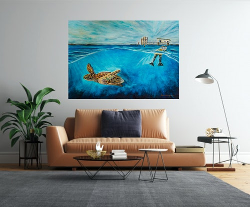 (CreativeWork) An Awe Inspiring Moment of a Lifetime - The Great Keppel Islands by Samantha Kinkella. Mixed Media. Shop online at Bluethumb.