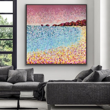 (CreativeWork) Main beach 150x150 framed large textured beach abstract  by Sophie Lawrence. Acrylic Paint. Shop online at Bluethumb.