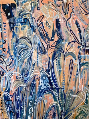(CreativeWork) Ocean Palms by Carley Bourne. Acrylic Paint. Shop online at Bluethumb.