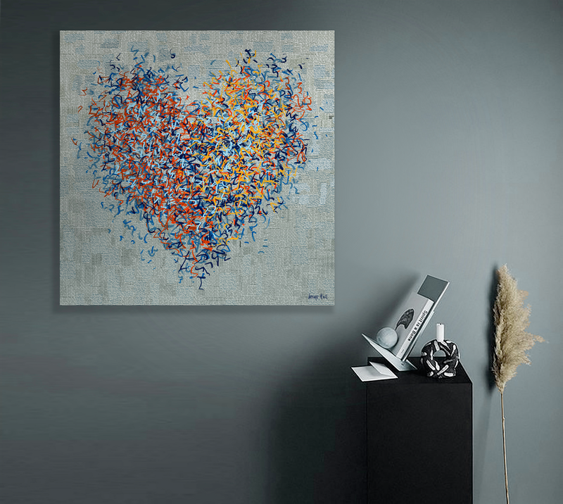 (CreativeWork) The Twelfth Optimist 102 x 102cm by George Hall. Mixed Media. Shop online at Bluethumb.
